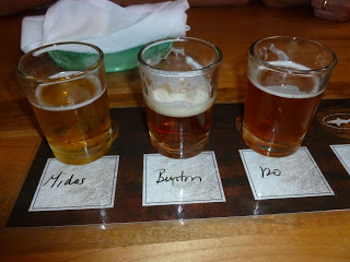 Our own small sampler , mostly because we couldn't remember if we liked the Midas or not. That 120 Minute IPA to the right? Whoa. 15-18% ABV. And it's still called beer!