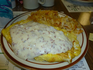Need to fuel your beach day? Creamed Chipped Beef surrounded by egg   and slathered in more Creamed Chipped Beef.