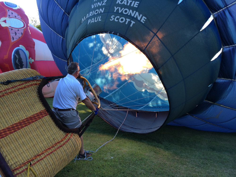 Pilot Scott Lorenz filing the balloon before take-off