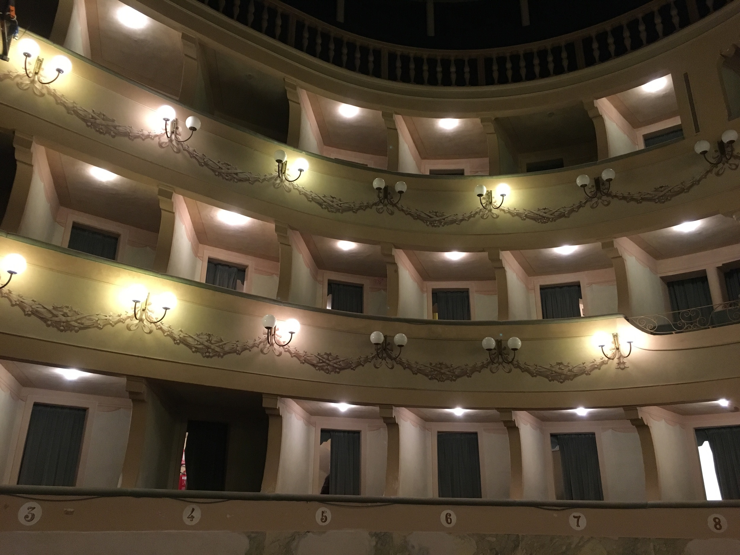 This theater was one of the first horseshoe-shaped designs. This is a view of the boxes.