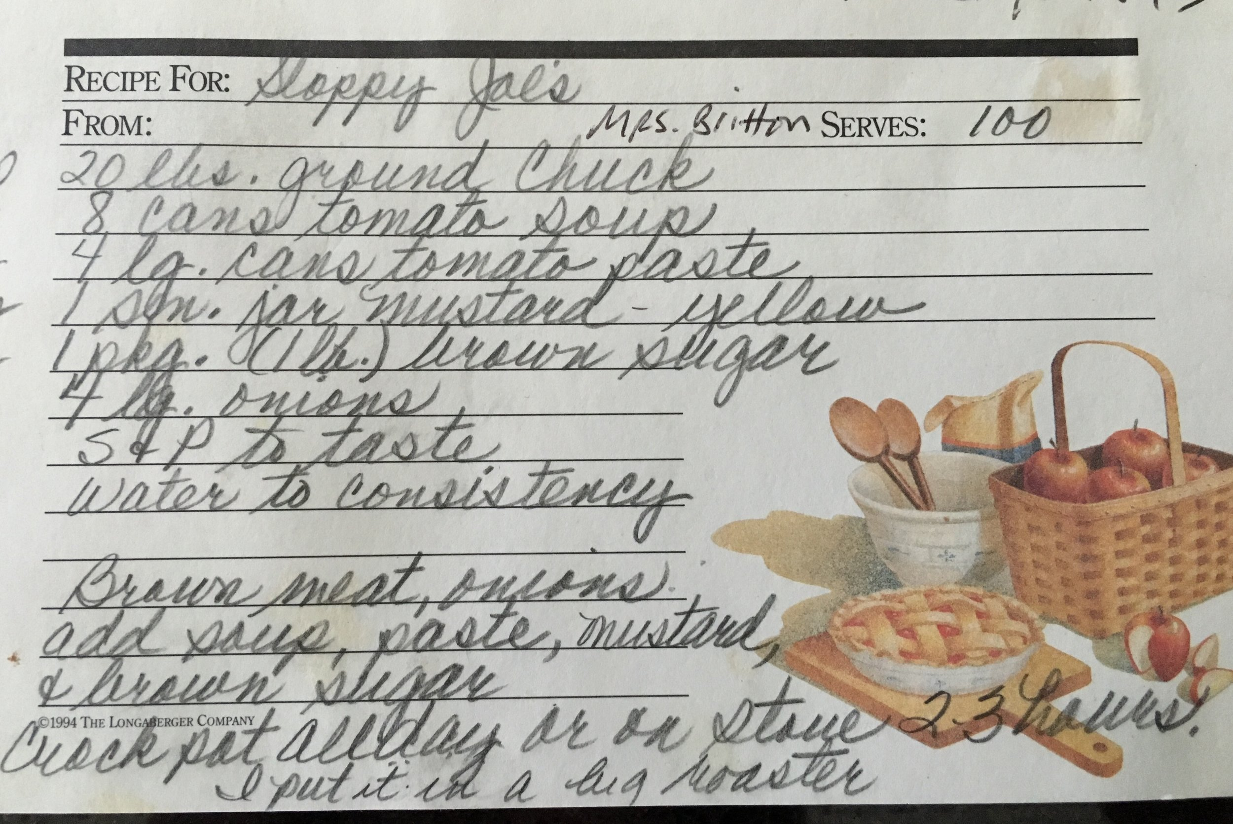 The original sloppy joe recipe, in that perfect elementary teacher penmanship.