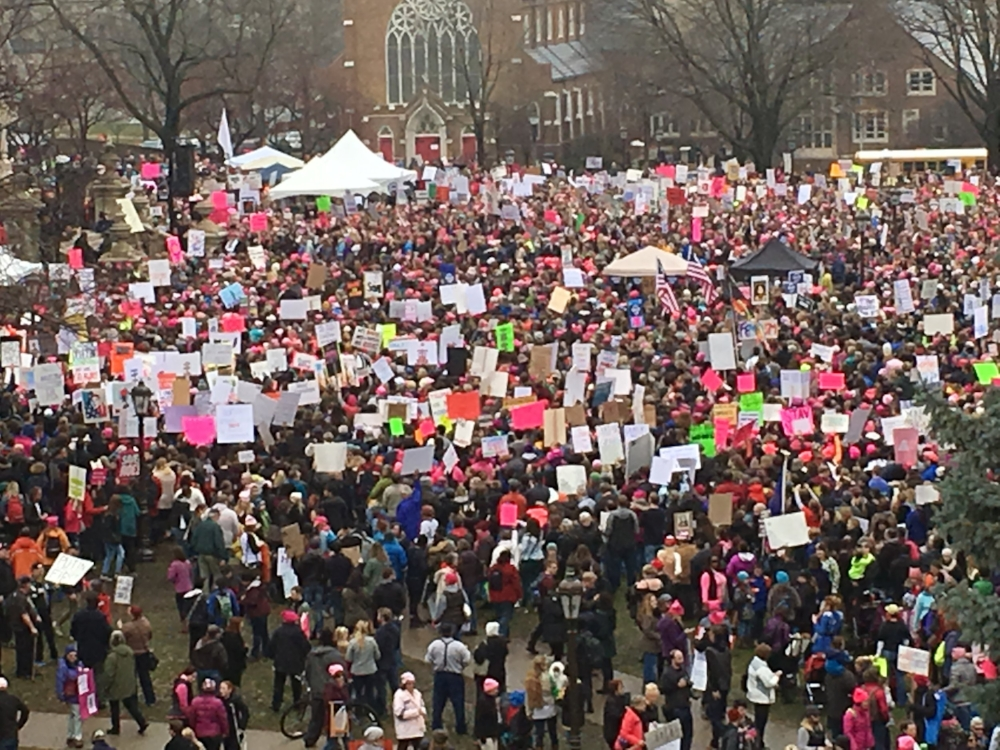 A view of the crowd on the Capitol lawn in Lansing. Photo taken from the parking garage nearby.