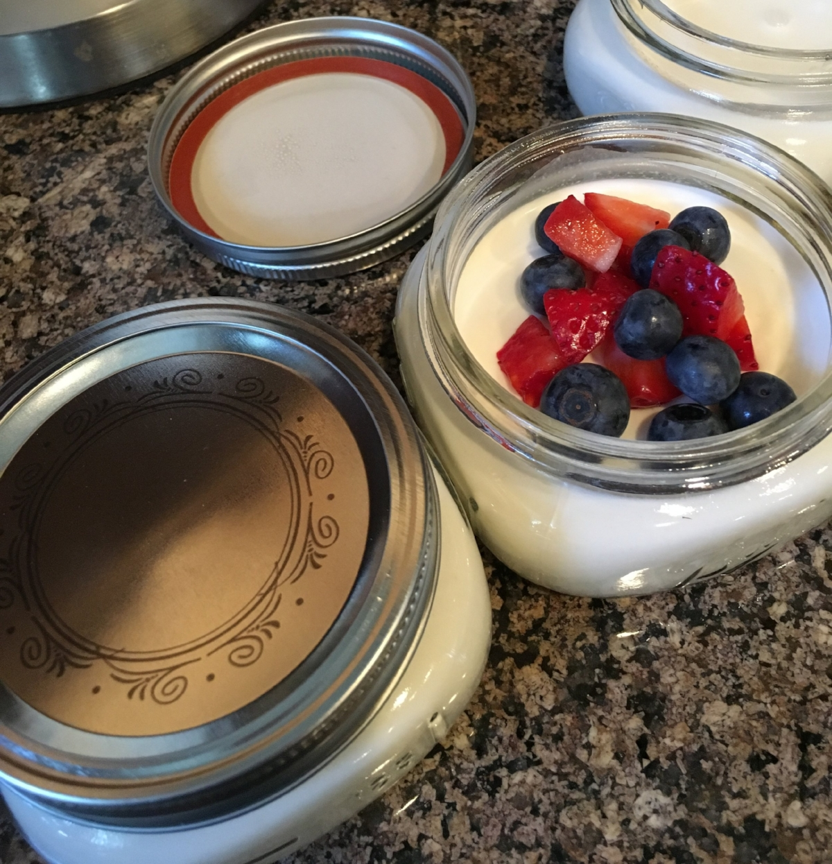 Cute 8 ounce canning jars are easy to pack and look good on the table too.
