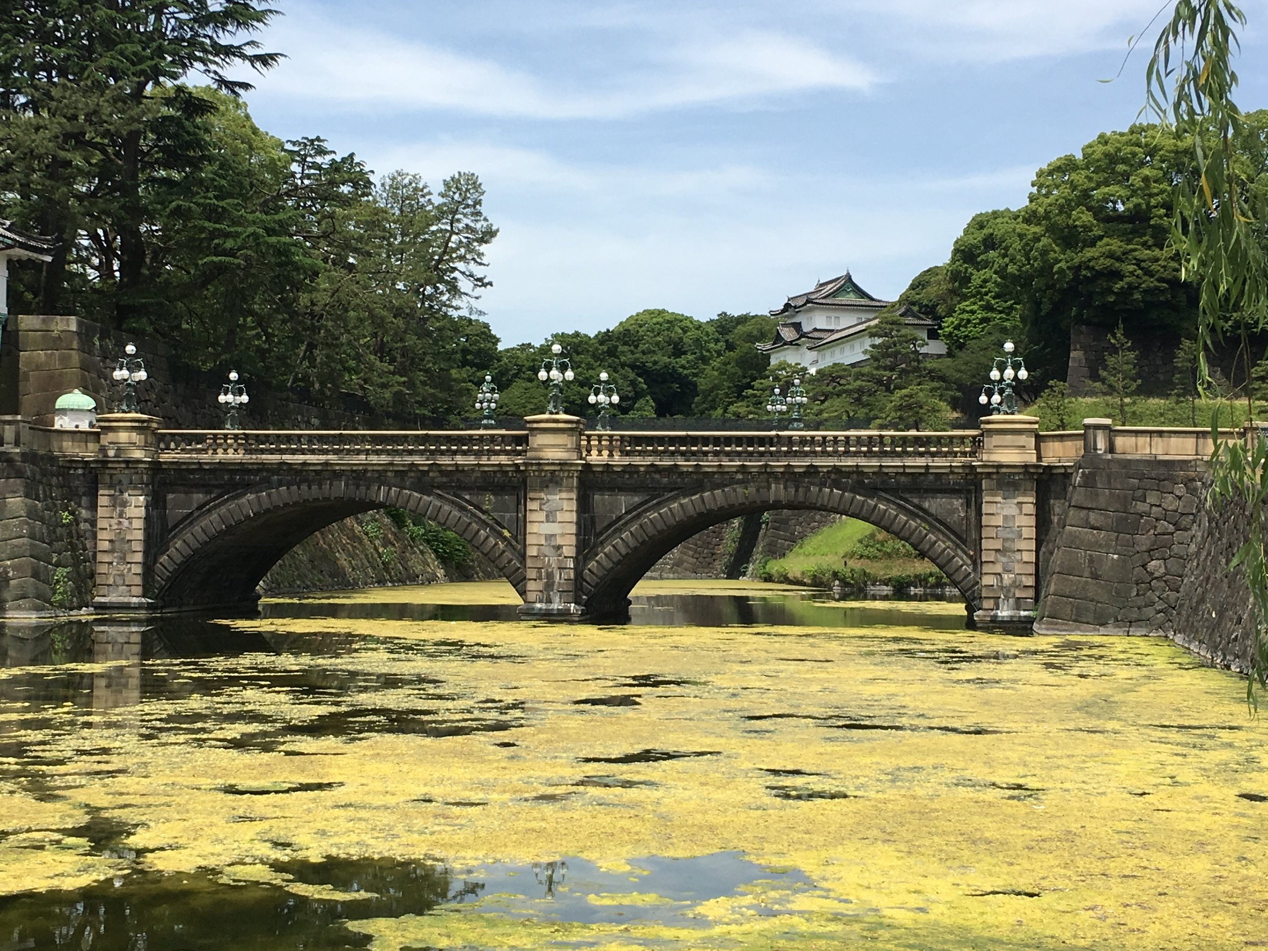 View of the Meganebashi bridge at the Imperial Palace grounds