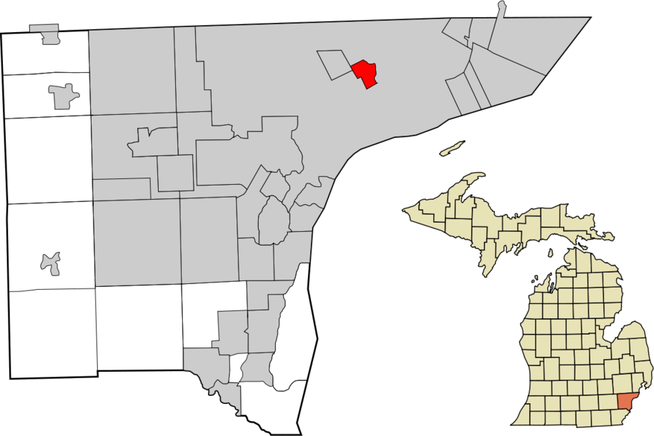 """""""Wayne County Michigan Incorporated and Unincorporated areas Hamtramck highlighted"""" by Arkyan--Licensed under CC BY-SA 3.0 via Commons"""