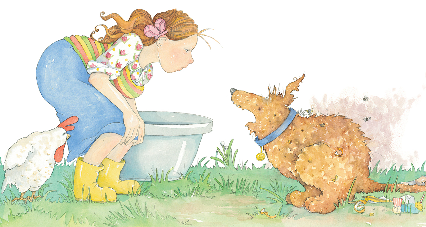 Mum took one look at Clementine and followed with a sniff. 'A nice big bath is what you need to get rid of that whiff.'