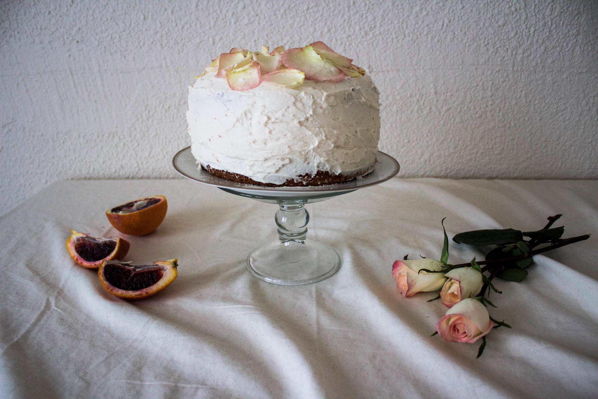 blood orange and rose cake