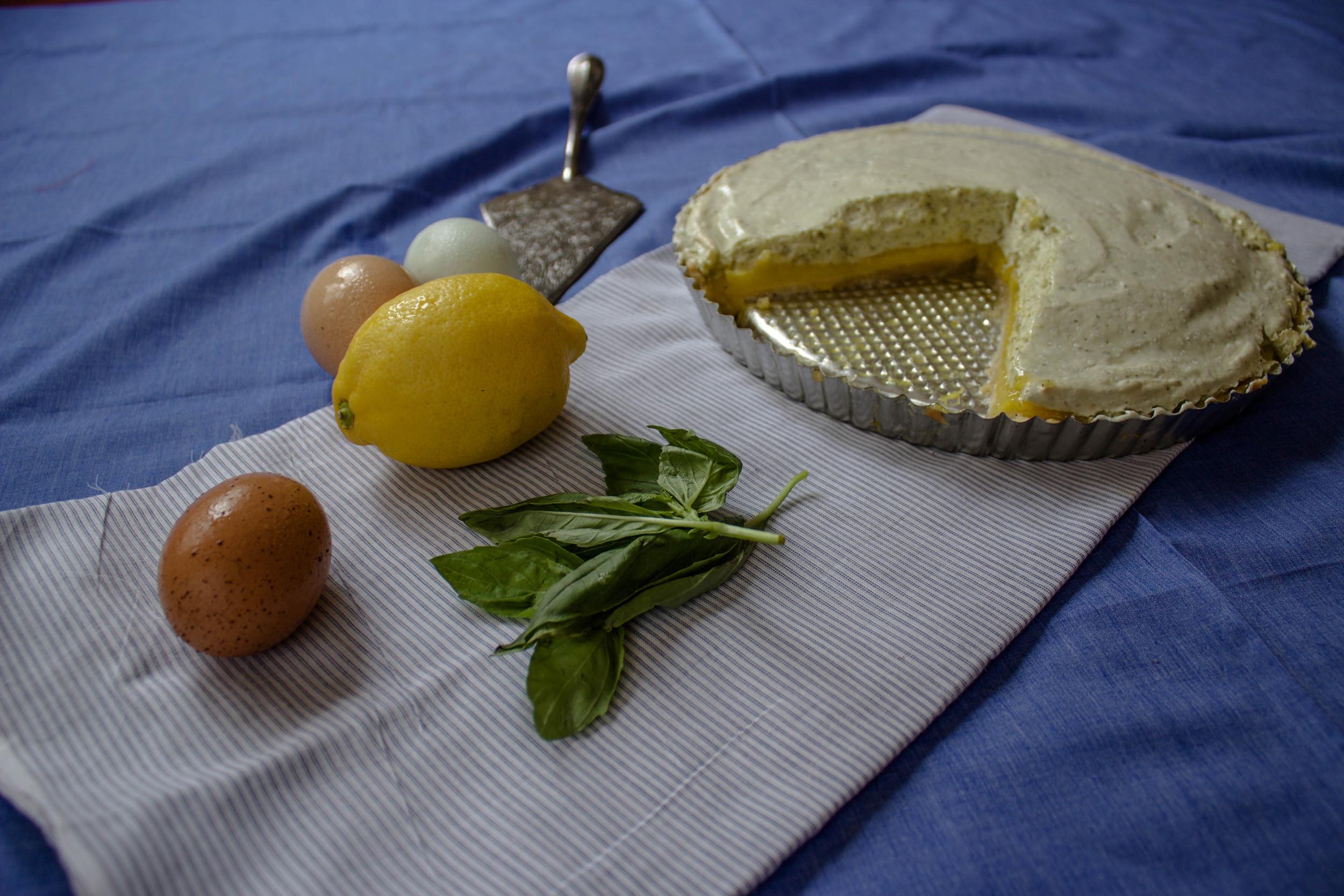 Lemon Tart with Basil Meringue