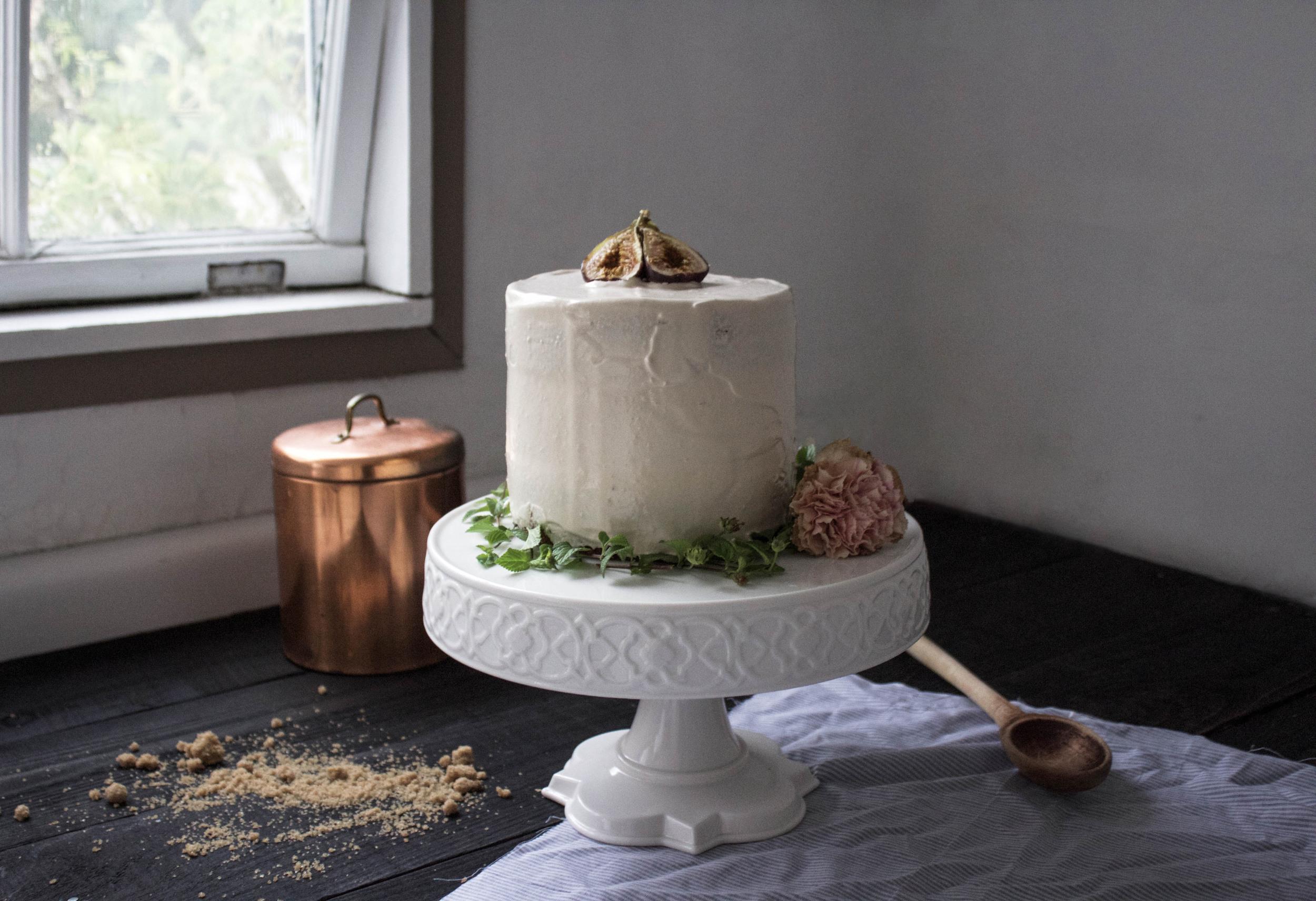 Fig, Oat, and Caramel Buttercream Cake