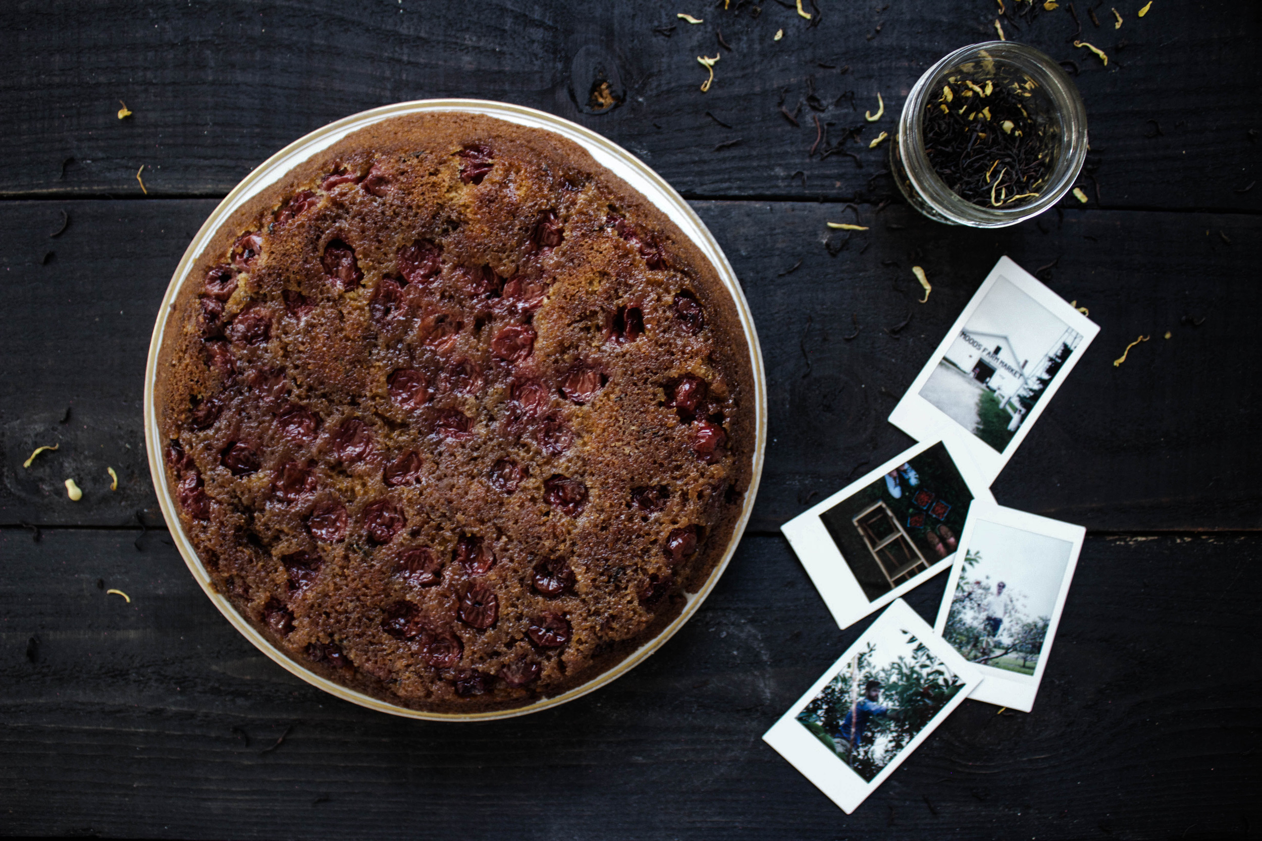 Black Tea and Almond Cherry-Upside Down Cake