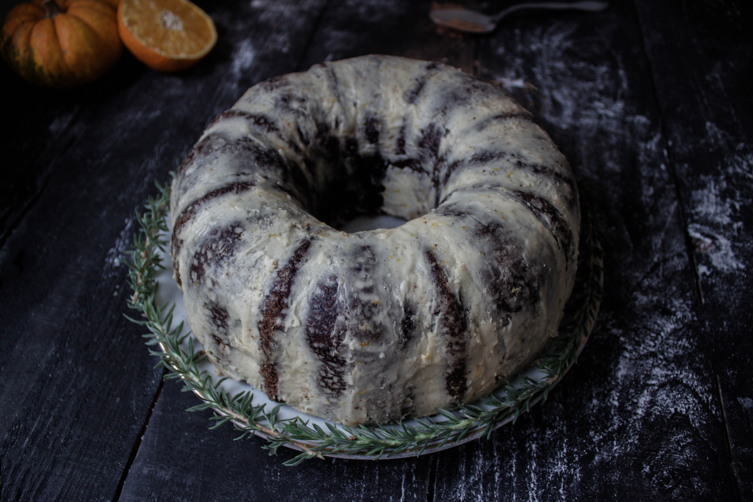 Chocolate Pumpkin Bundt Cake with Spiced Orange Icing
