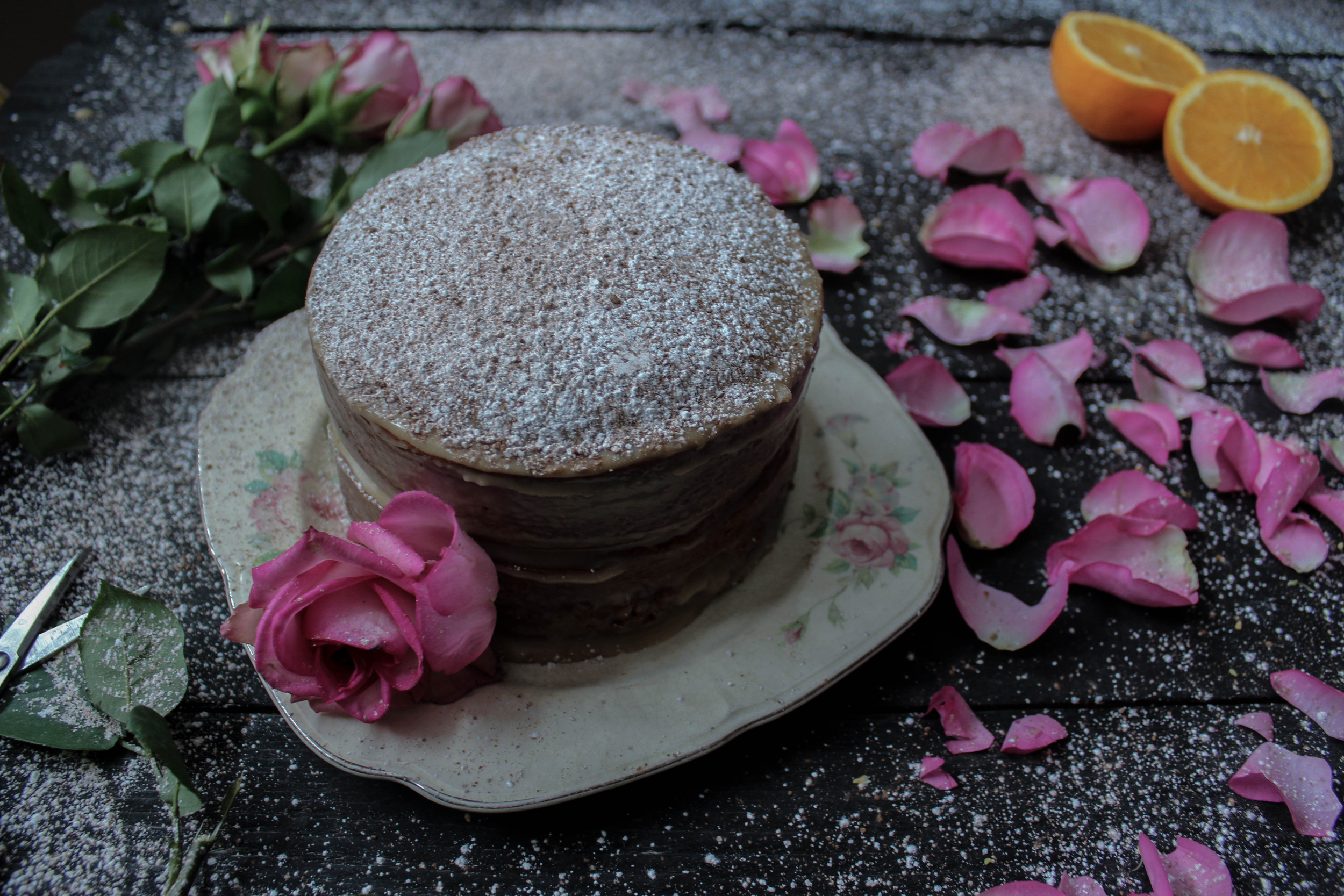 Orange Marmalade Cake with Tahini Frosting