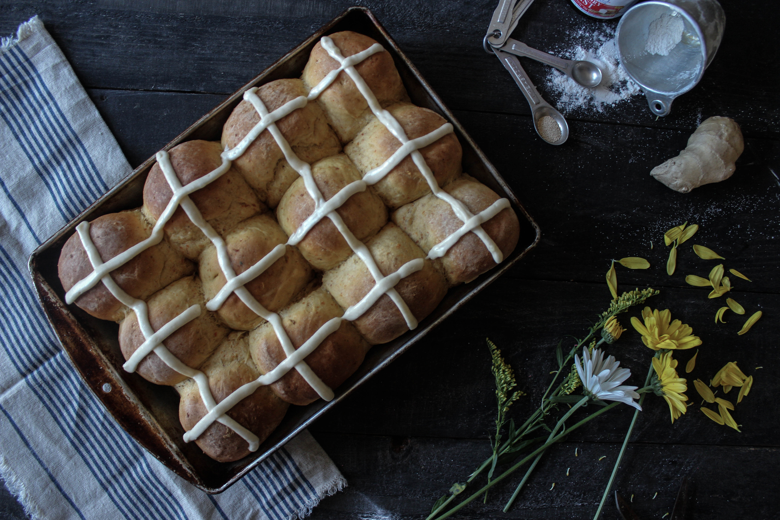Coconut-Roasted Carrot Hot Cross Buns with Pineapple Ginger Icing