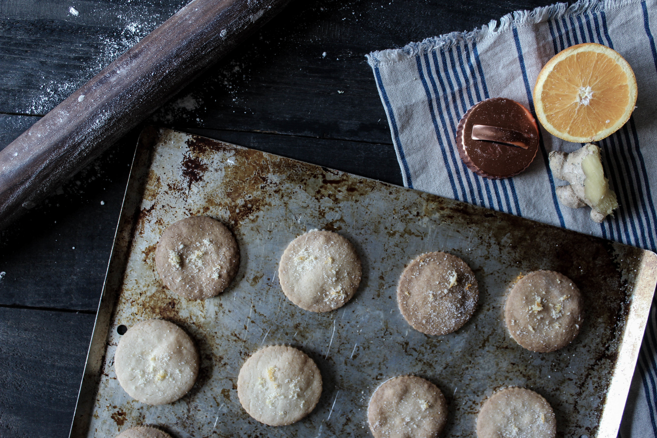Orange Ginger Shortbread Cookies