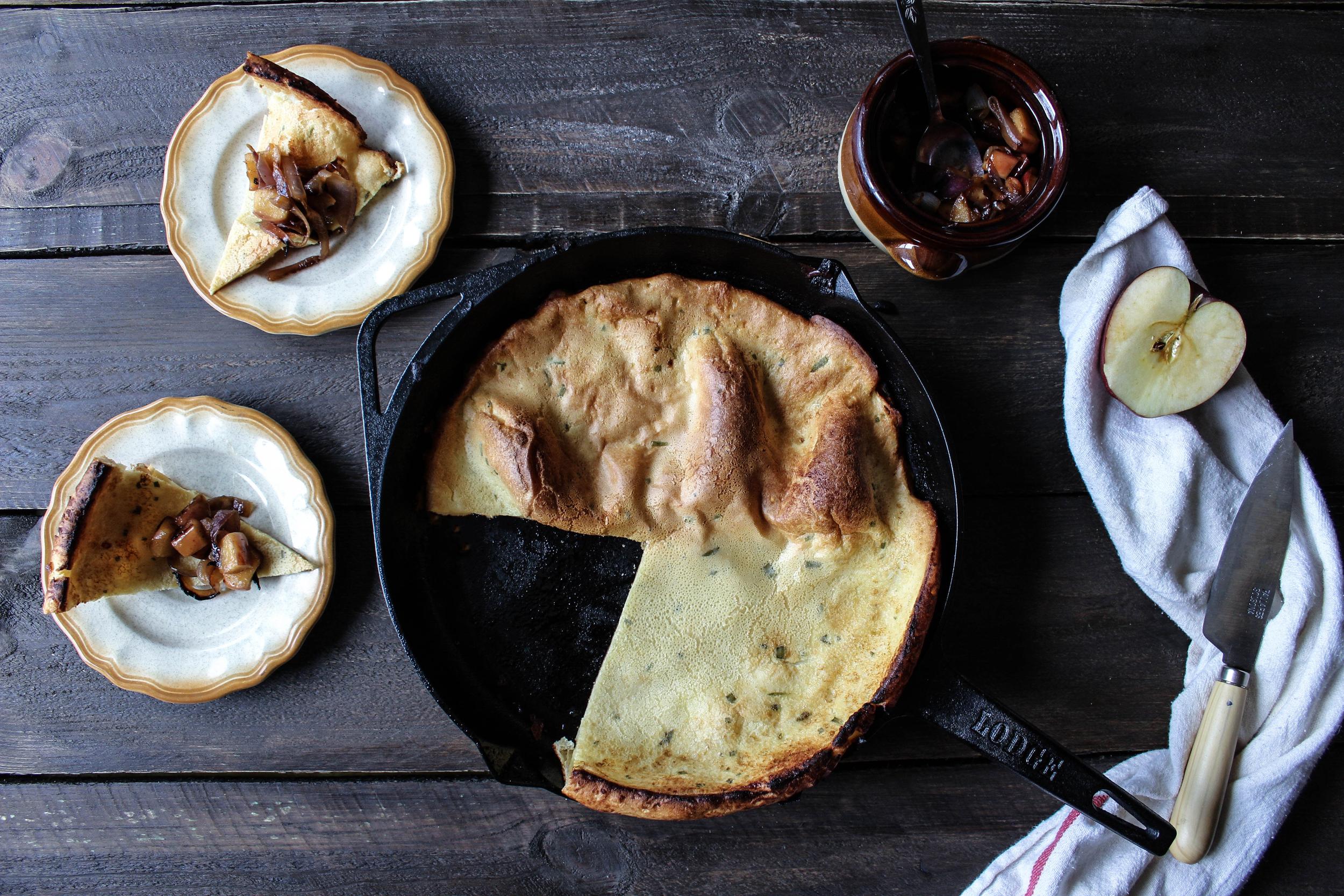 Savory Dutch Baby with Onion-Apple Relish