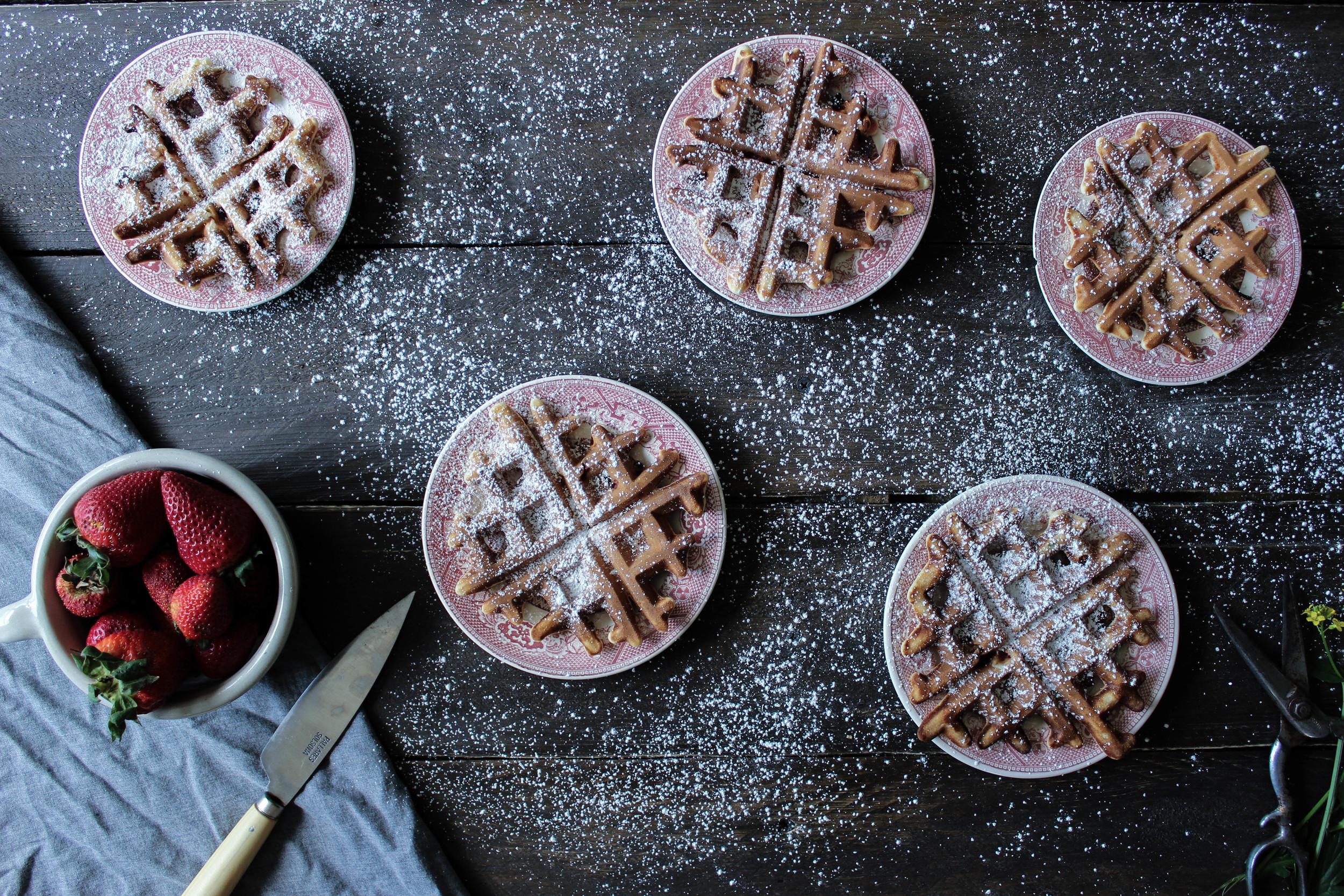 Cornmeal Ricotta Strawberry Waffles