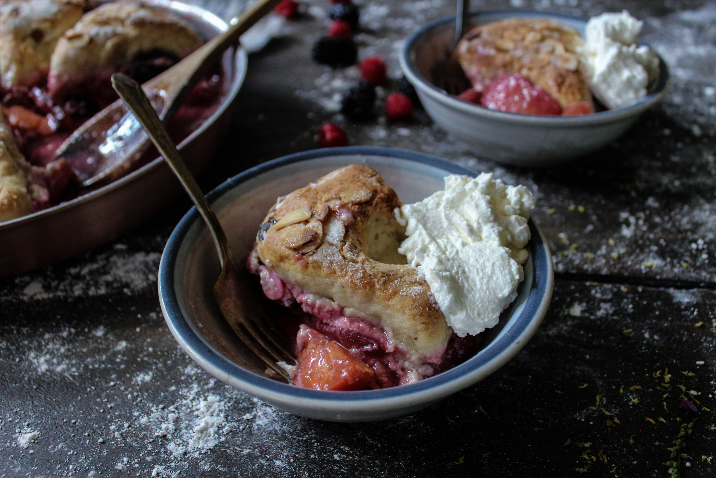 Summer Fruit Stone Cobbler, in partnership with Falk
