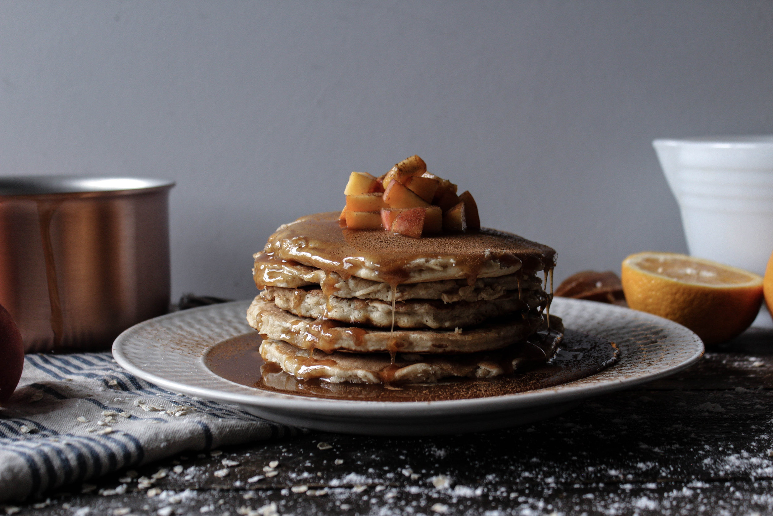 Oat Pancakes with Spiced Orange Caramel Sauce