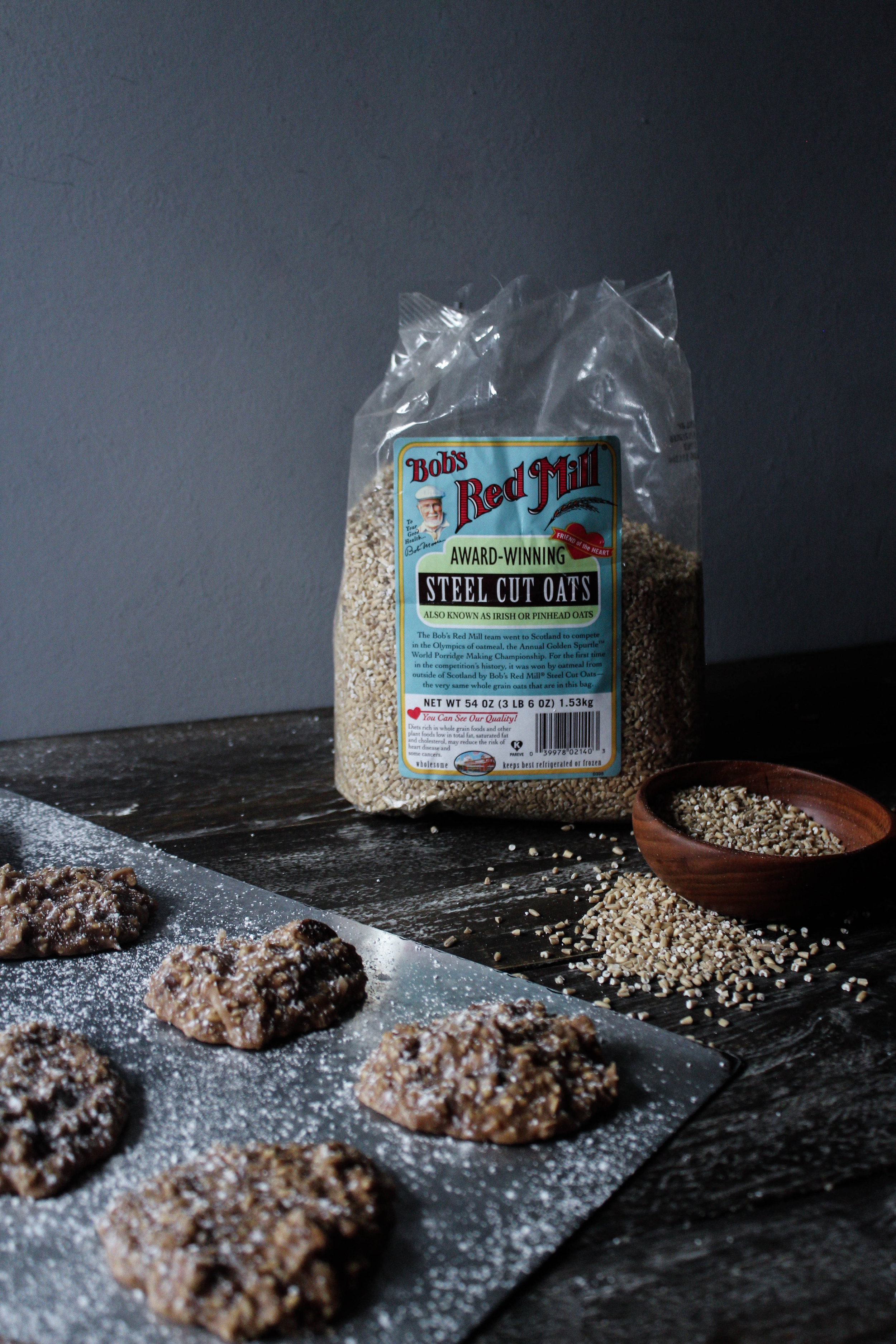 No Bake Cookies with Bob's Red Mill Steel Cut Oats