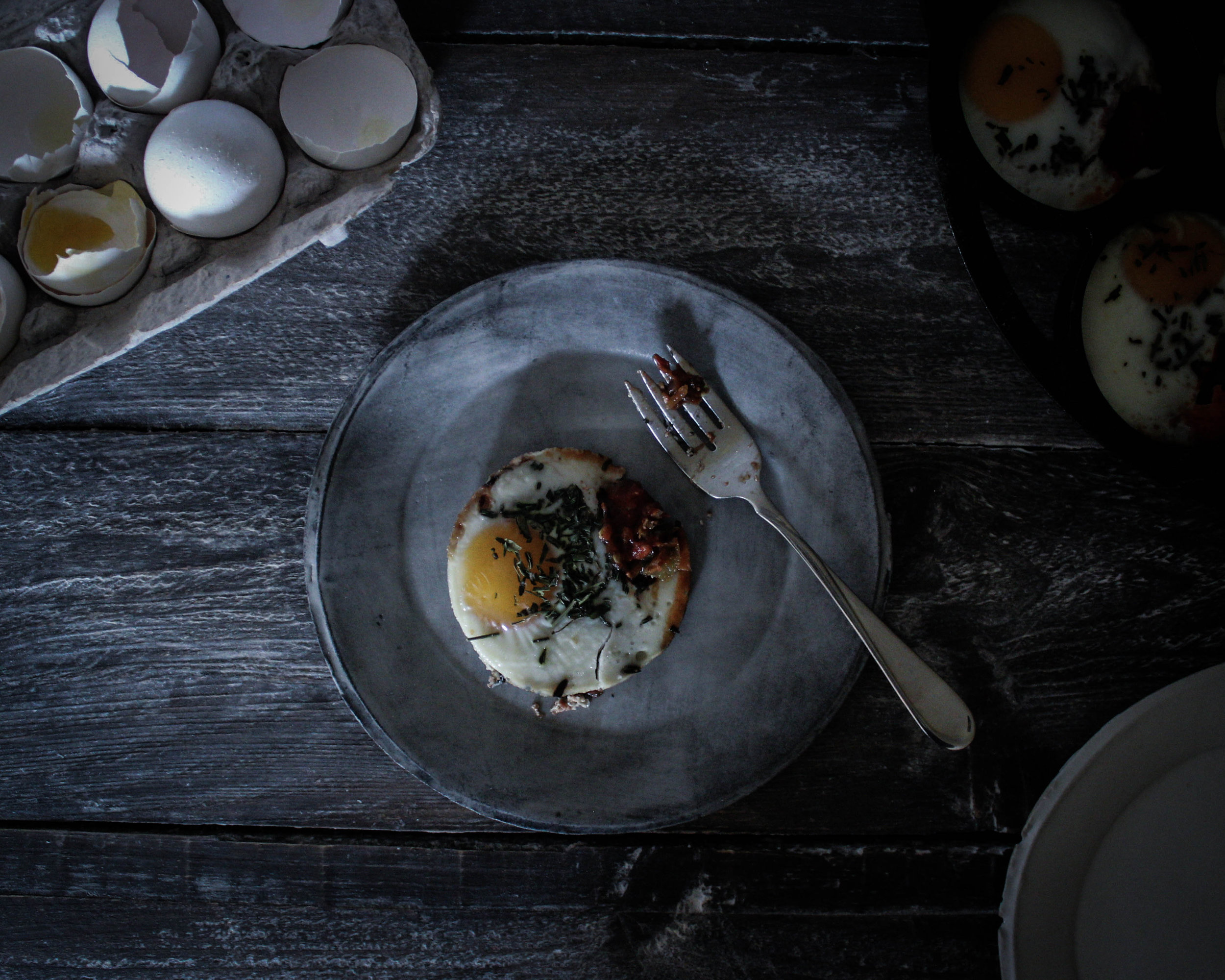Tarragon Baked Eggs in Lodge Cast Iron