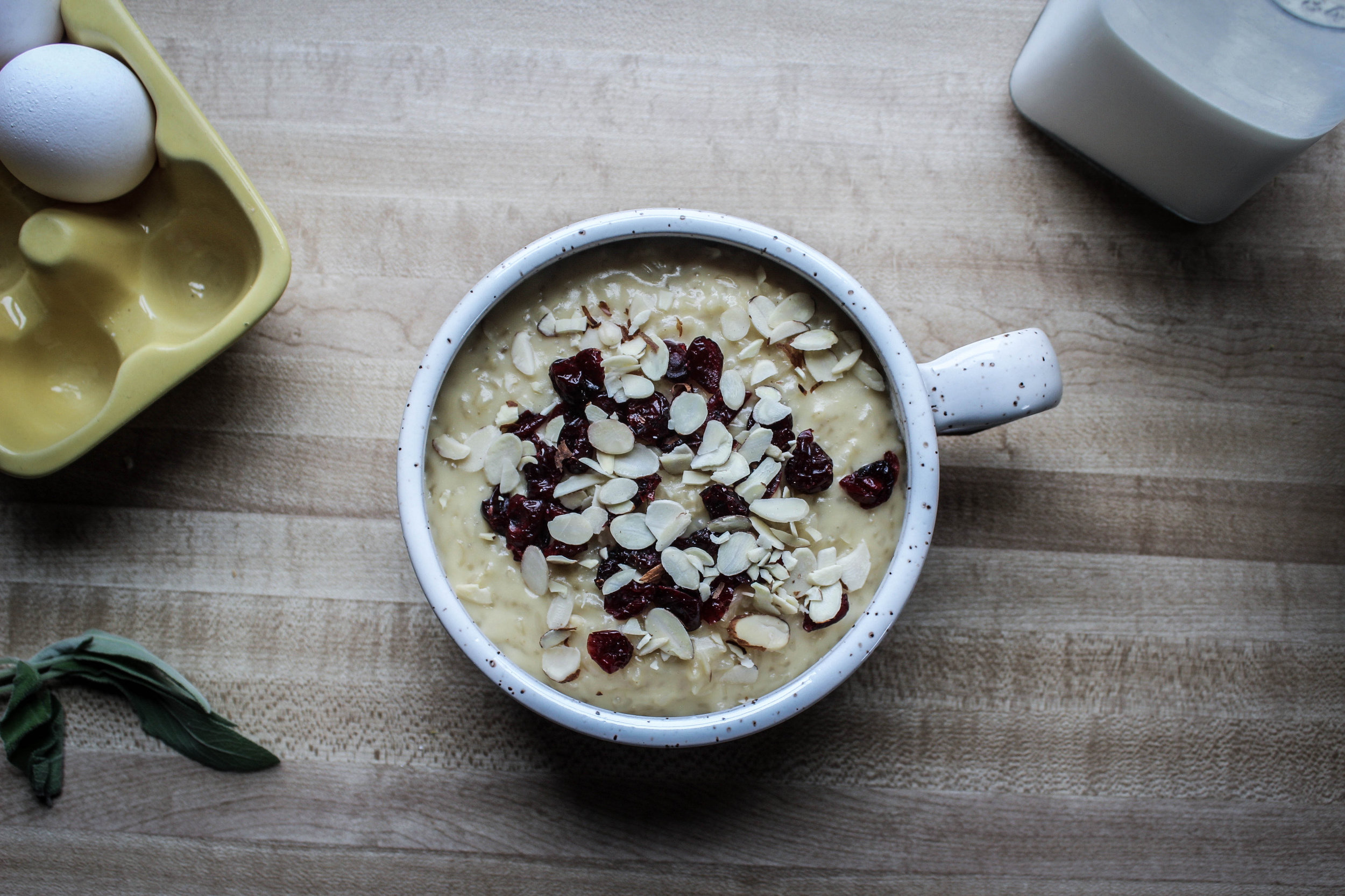 Almond and Cherry Brown Rice Pudding