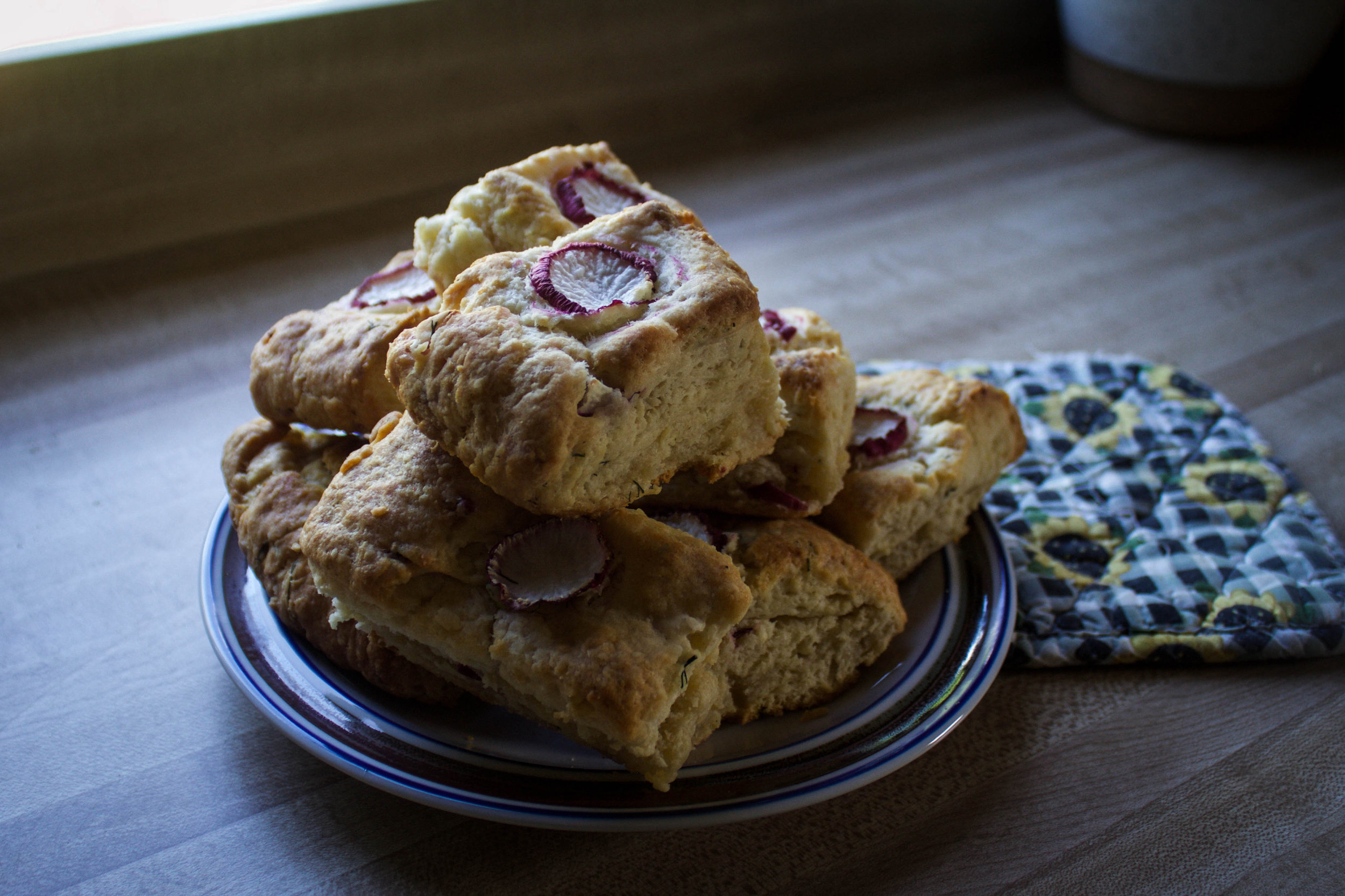 Radish Dill Goat Cheese Scones