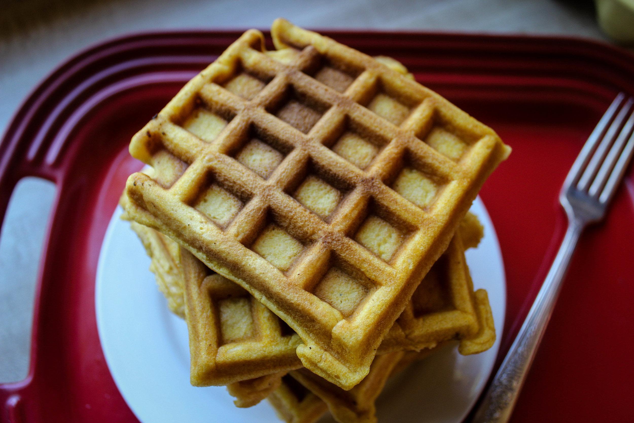 Pumpkin tahini waffles