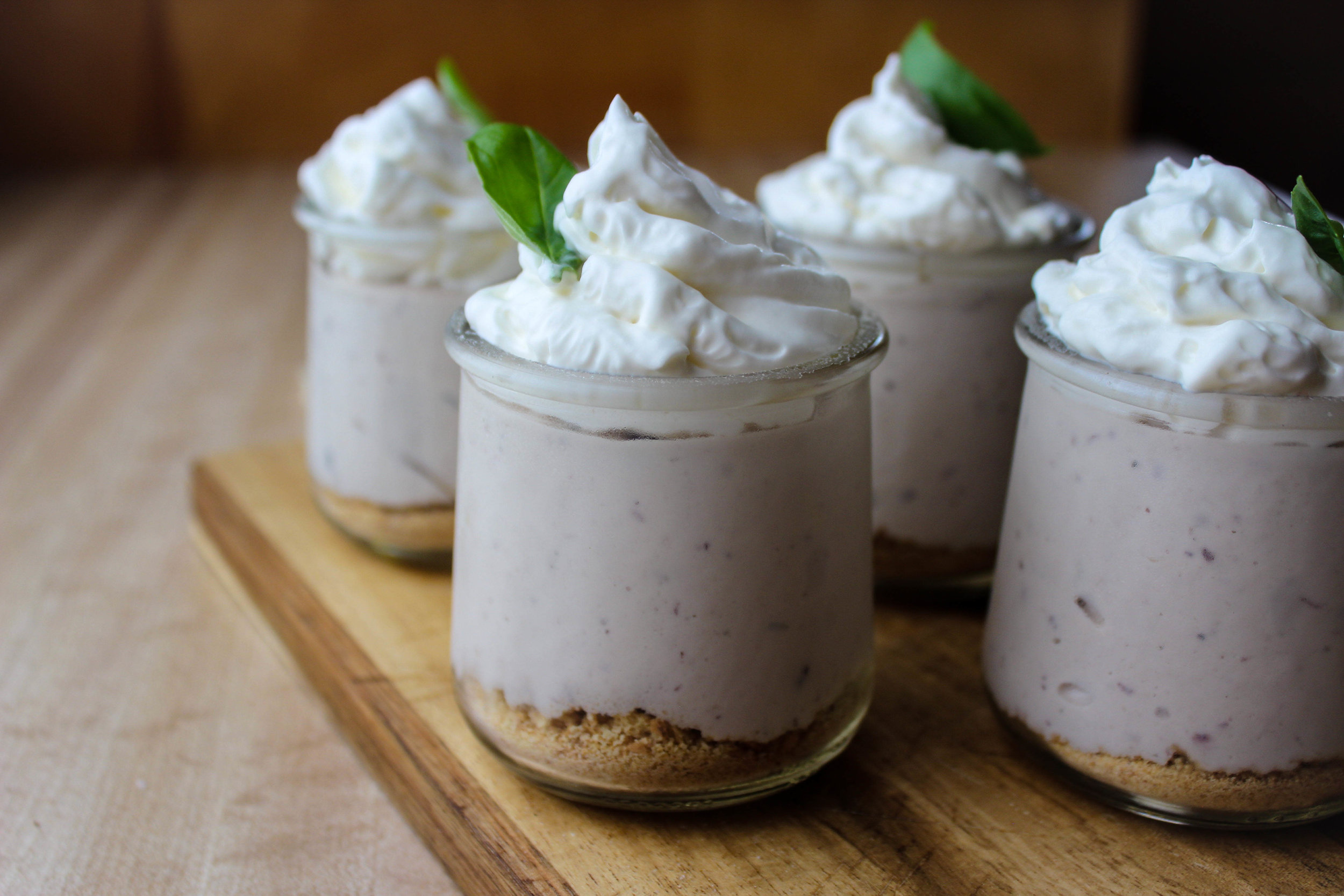 Blueberry Goat Cheese No Bake Cheesecake Parfait