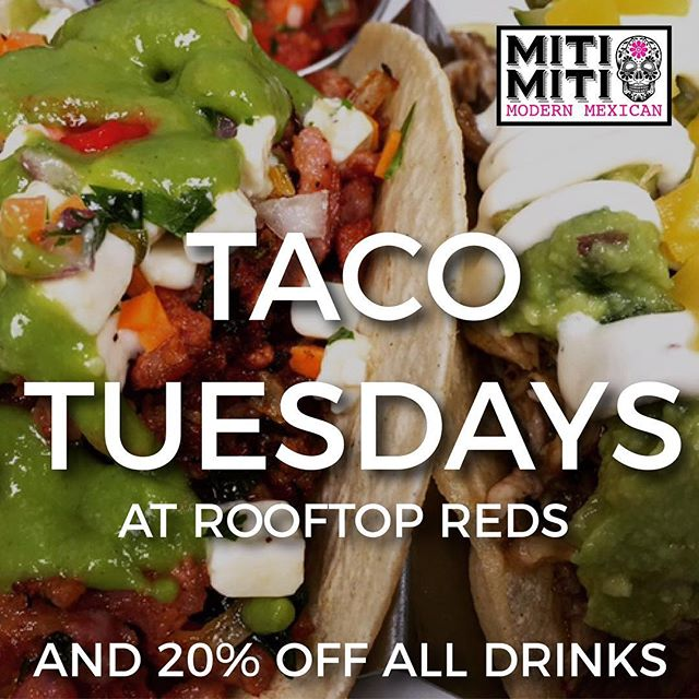 TACO TUESDAYS START THIS TUESDAY! Grab your free reservation to come and visit. All drinks are 20% off and a pop up taco bar will be available thanks to Miti Miti Modern Mexican! @mitimitinyc. Grab your free reservation with the link in the bio!