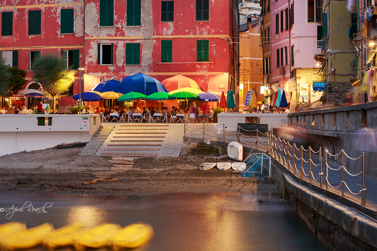 Vernazza's lively square at night