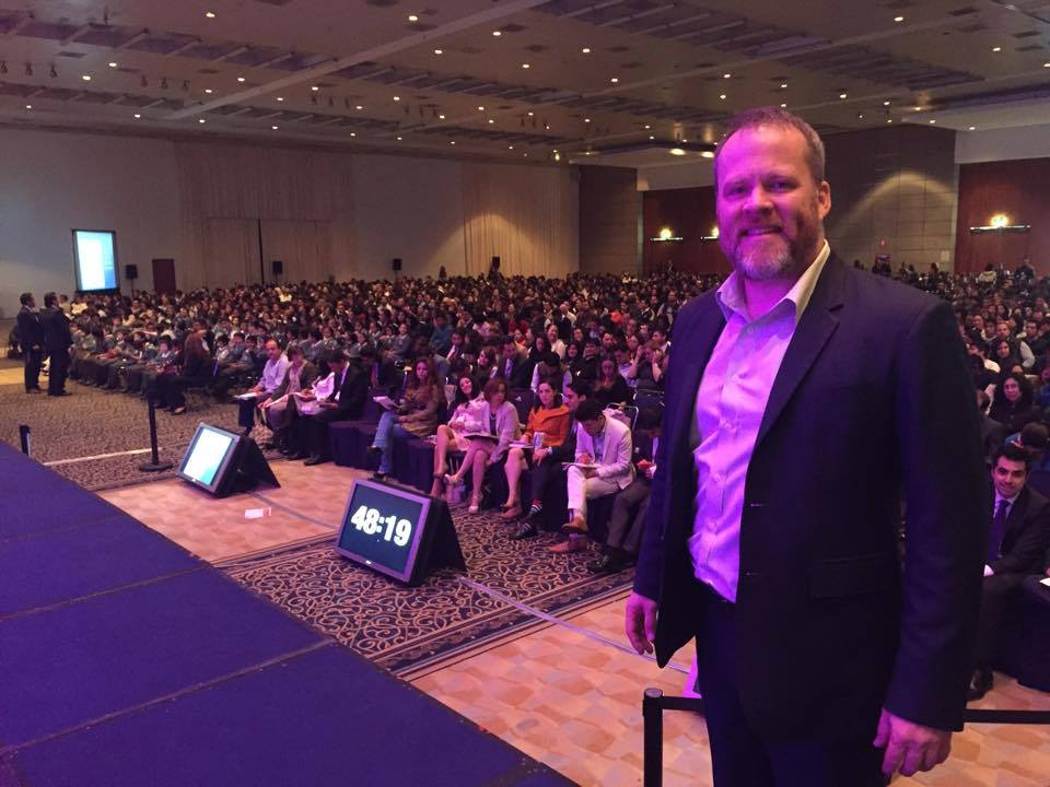 Ron at a speaking engagement in Mexico.