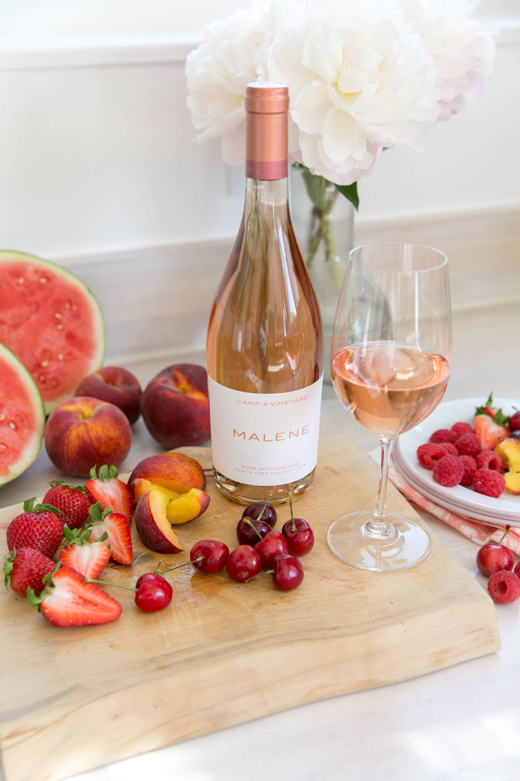 Malene Wines rosé fruit and flower photo by Tory Putnam