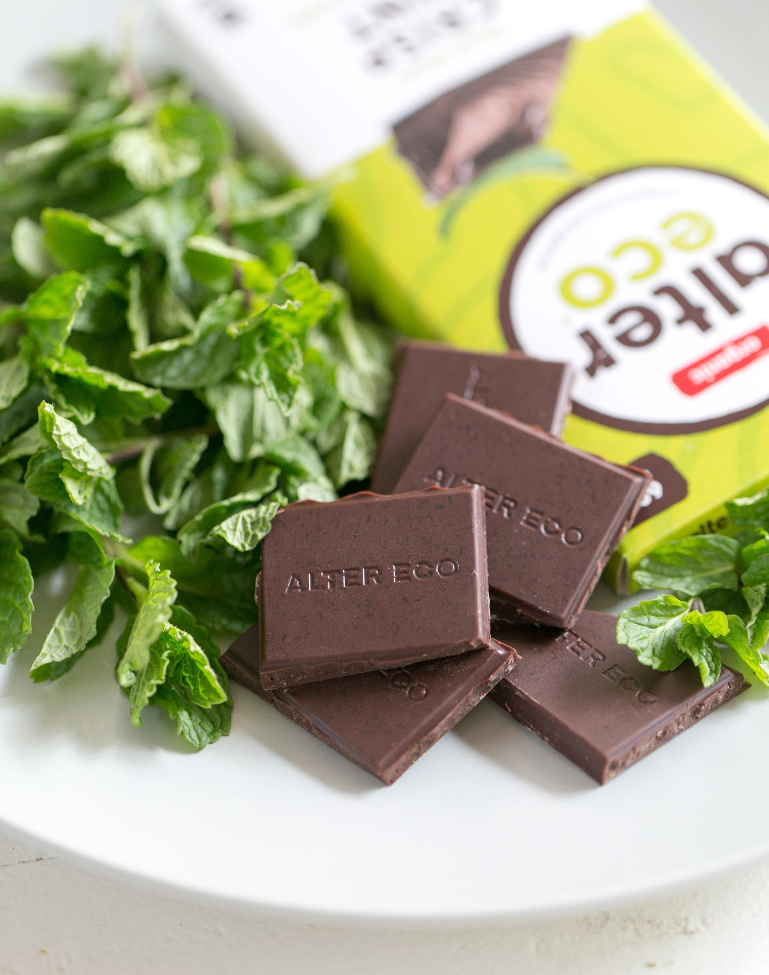 Alter Eco Chocolate mint dark chocolate bar photo by Tory Putnam