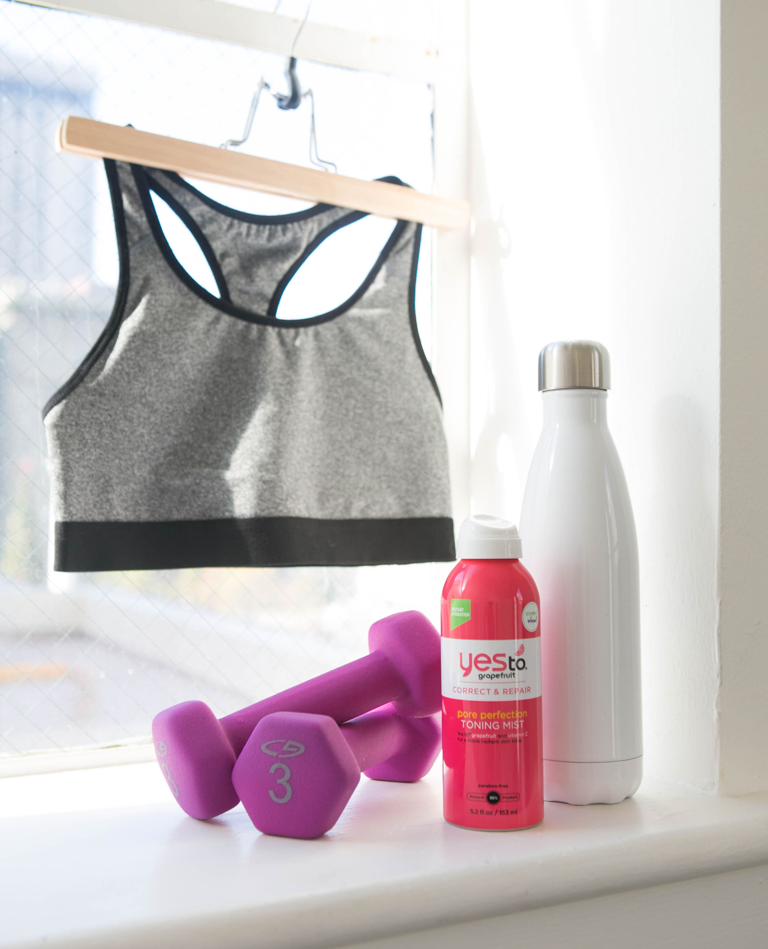 Yes To grapefruit toning mist bra workout gear photo by Tory Putnam