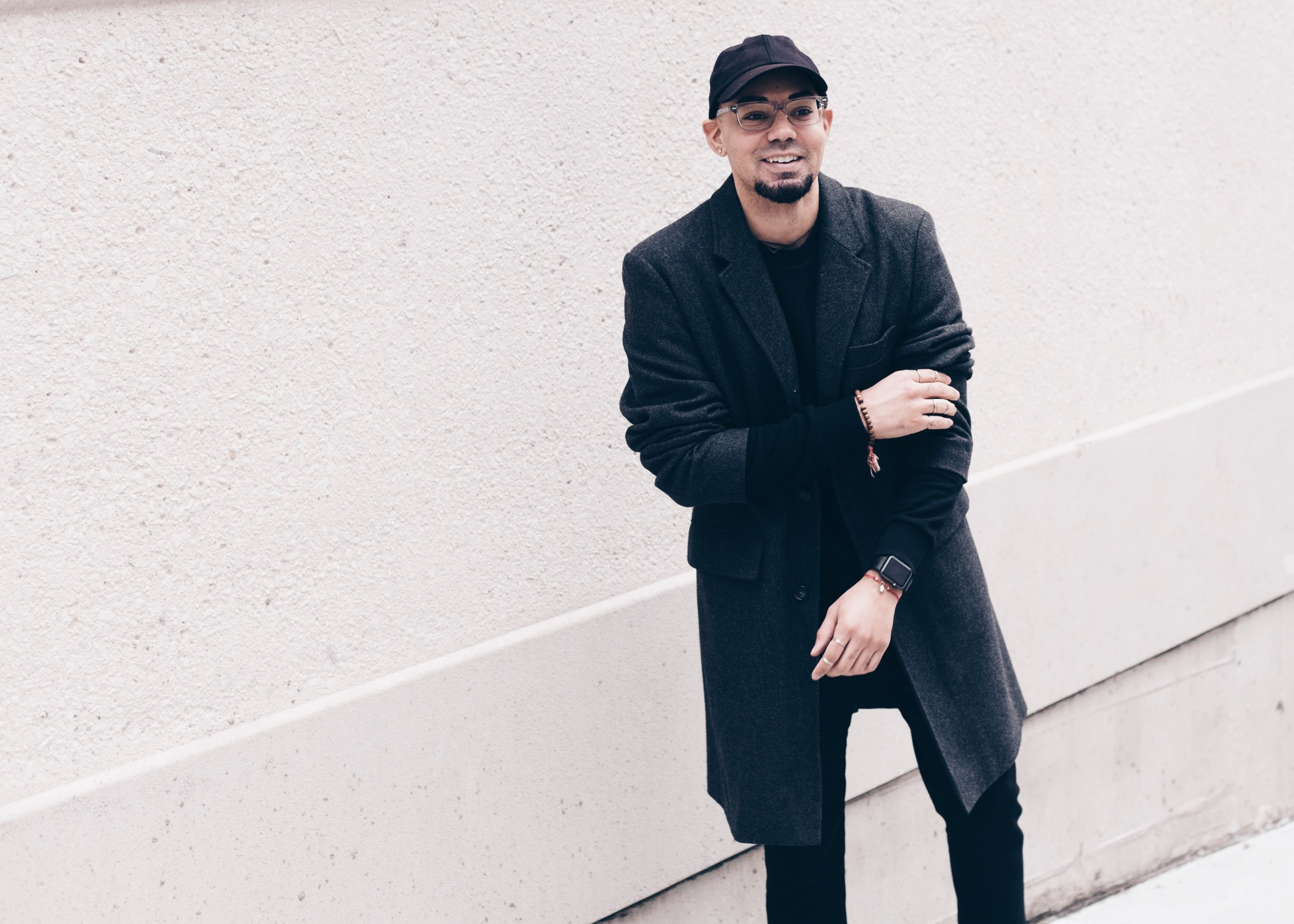 All Black Distressed Sweater + Oversized Overcoat -