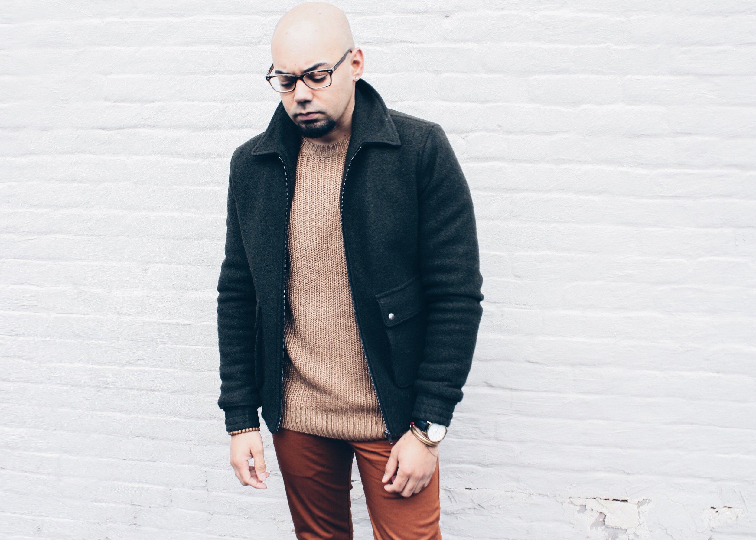 Chunky Ribbed Sweater + Slim Chinos -
