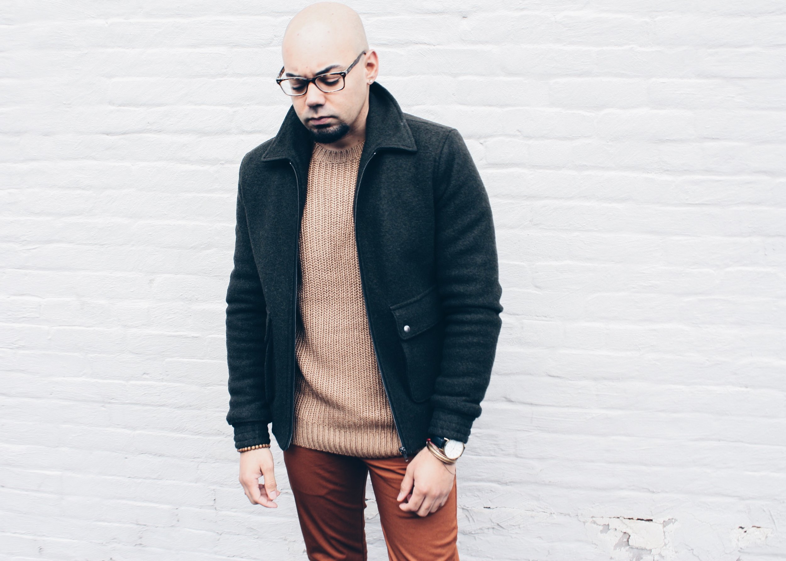 Chunky Ribbed Knit Sweater + Slim Chinos -