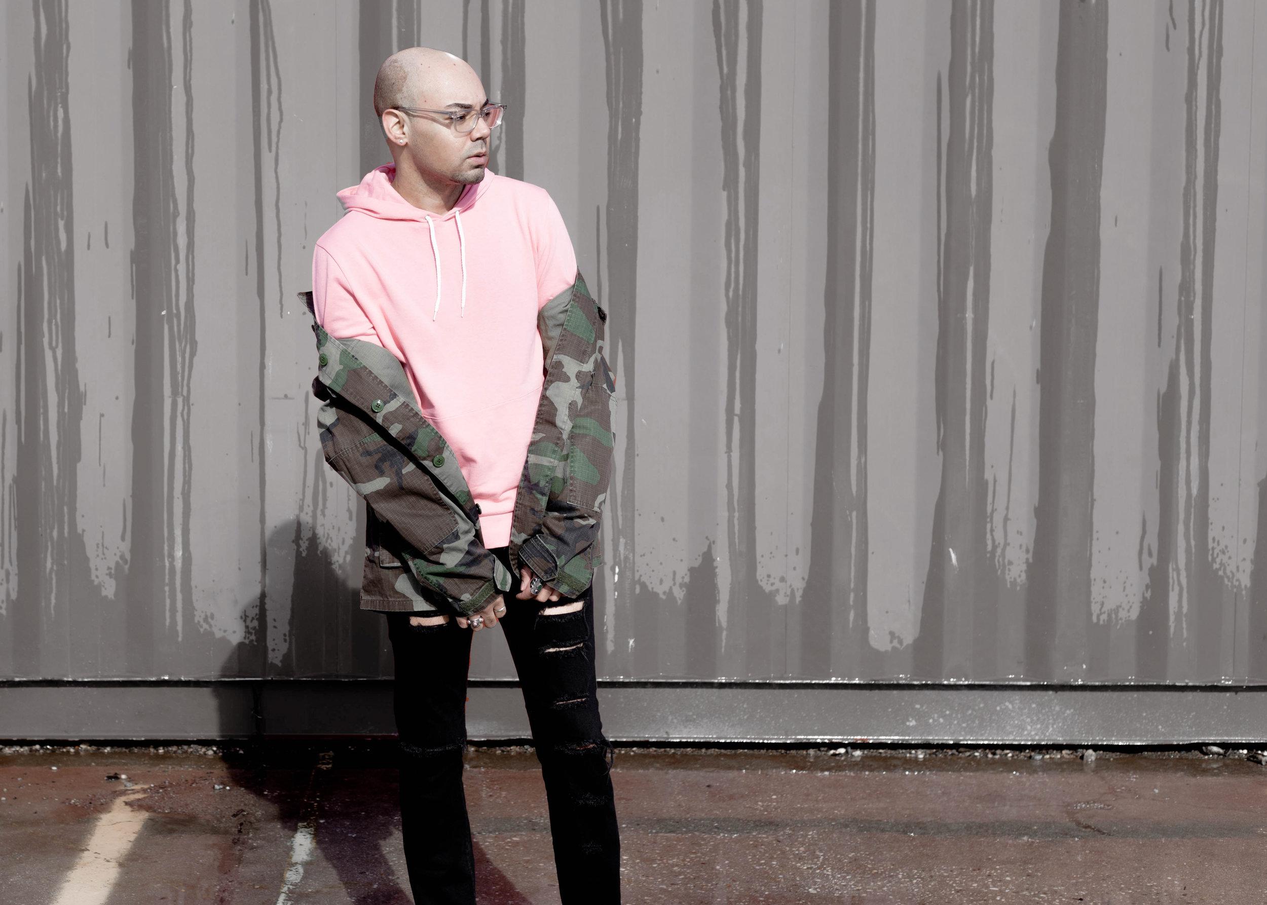 Camo Jacket + Pink Hoodie -
