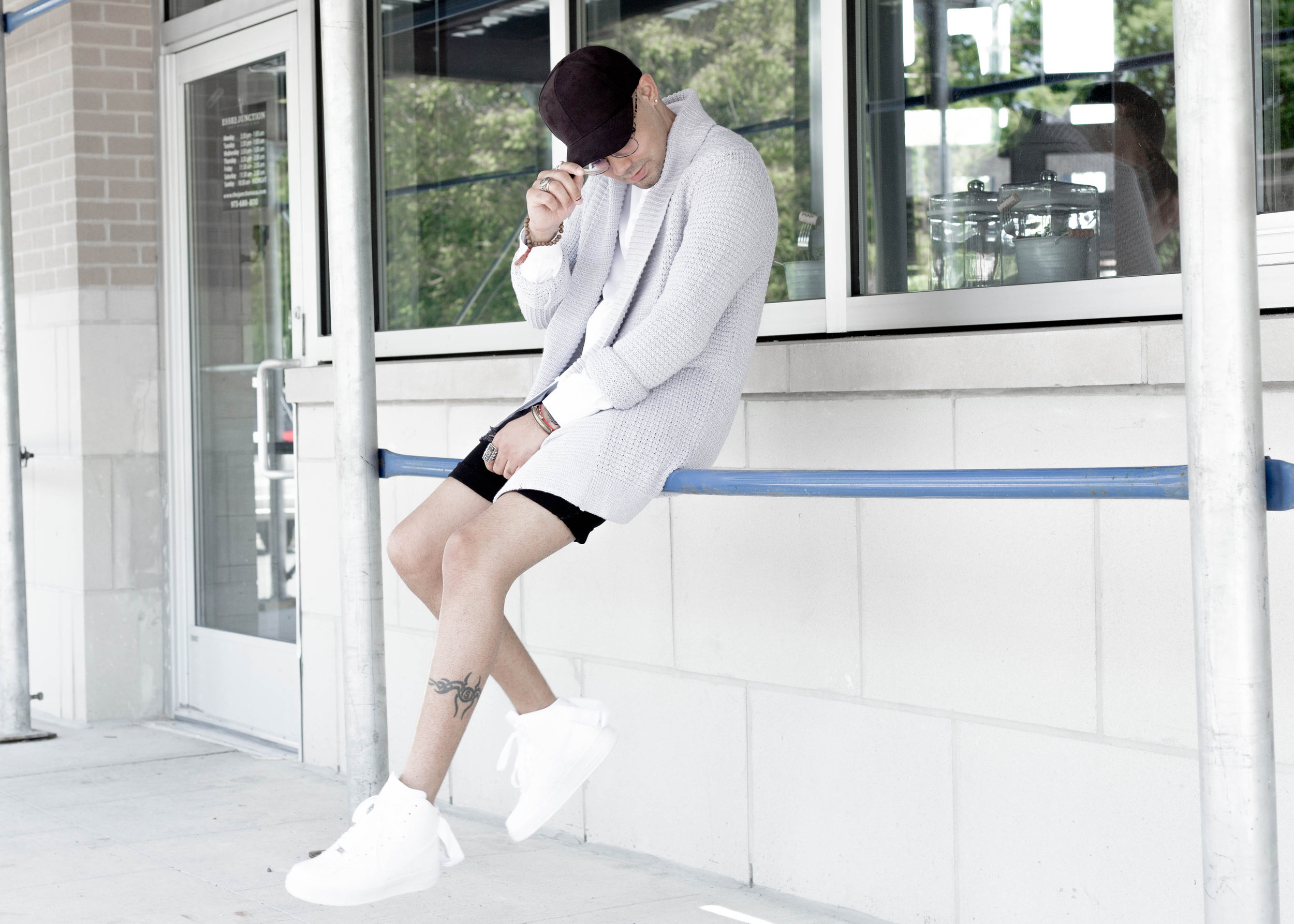 Cardigan Sweater + Distressed Denim -