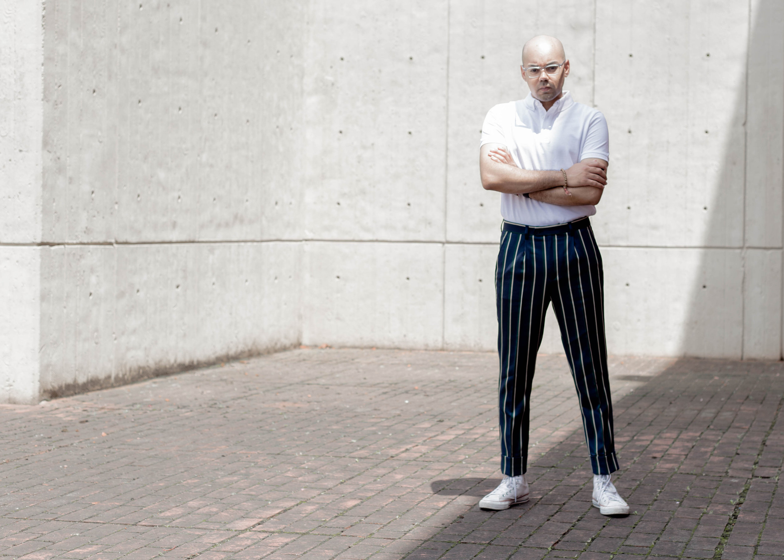 Wide Striped Trousers + Solid Polo -