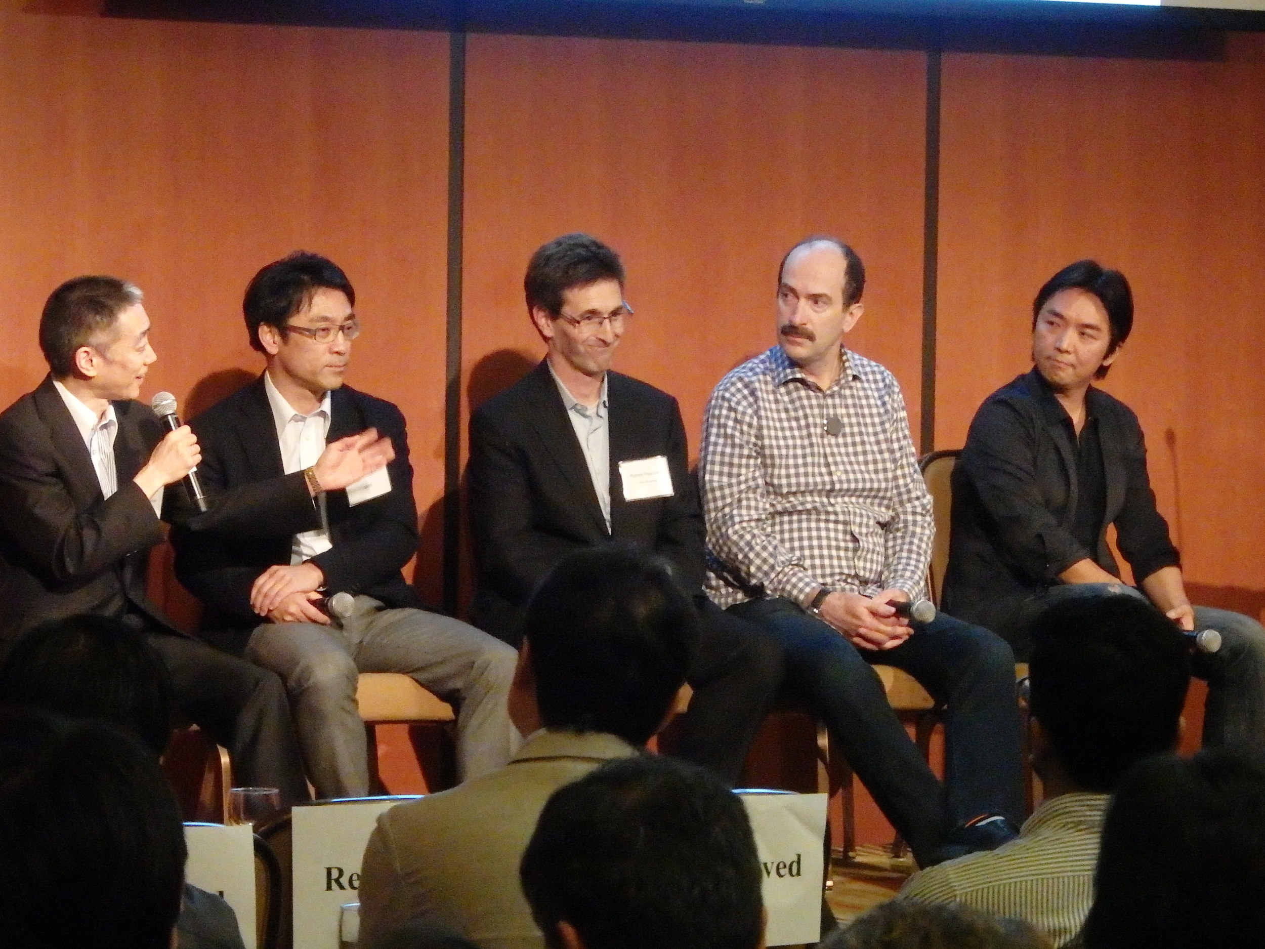 The panelists, from left: Yoshiaki Tojo, Dr. Ikkei Matsuda, Robert Pearlstein, Tom Kelly, and Gen Isayama