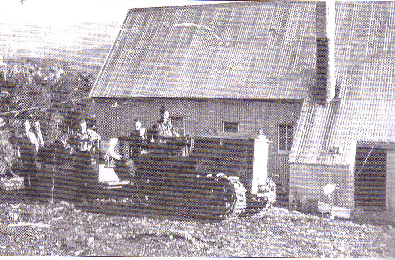 Cletrac oversnow tractor at the Bungalow. Similar machines worked at the Buffalo Chalet. Photo: Harrietville Historical Society.