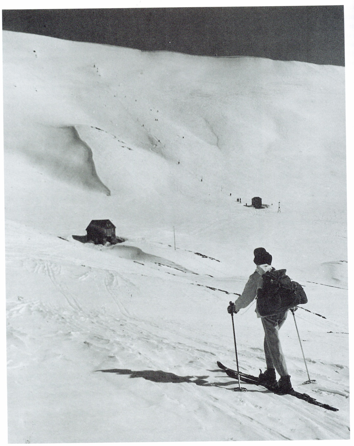 Two of the Ski Tourers Association's Main Range developments: Kunama Lodge and the Northcote Tow House.                                                Photo:Baglin, published in Rick Walkom. Skiing off the roof: the kosciusko Chalet and it's place in the history of the Australian snowfields. [1st ed.], Arlberg Press, 1991.