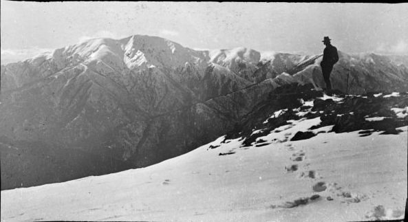 Mt Feathertop from the Bogong High Plains in the 1920s. Photo Robert 'Wilkle' Wilkinson. Source National Library of Australia.