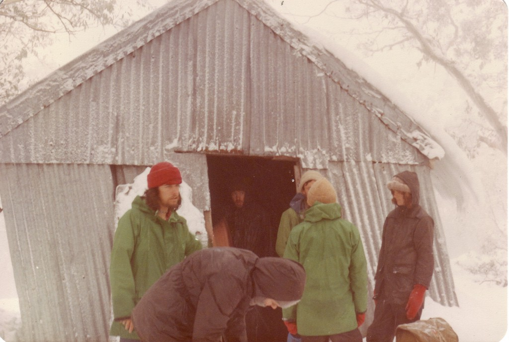 Feathertop Hut (1912 - 1980) with an obvious lean in 1979, not long before it collapsed. Photo © David Neale from  Gary Duncan's huts website . Used with permission.