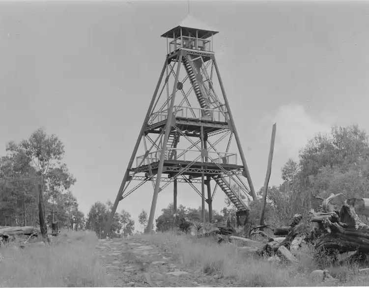 The second lookout tower was a head frame for three gold mines in an earlier life. The photo was taken in 1942 and this was the tower that overlooked the mountain the whole time it was a ski resort.