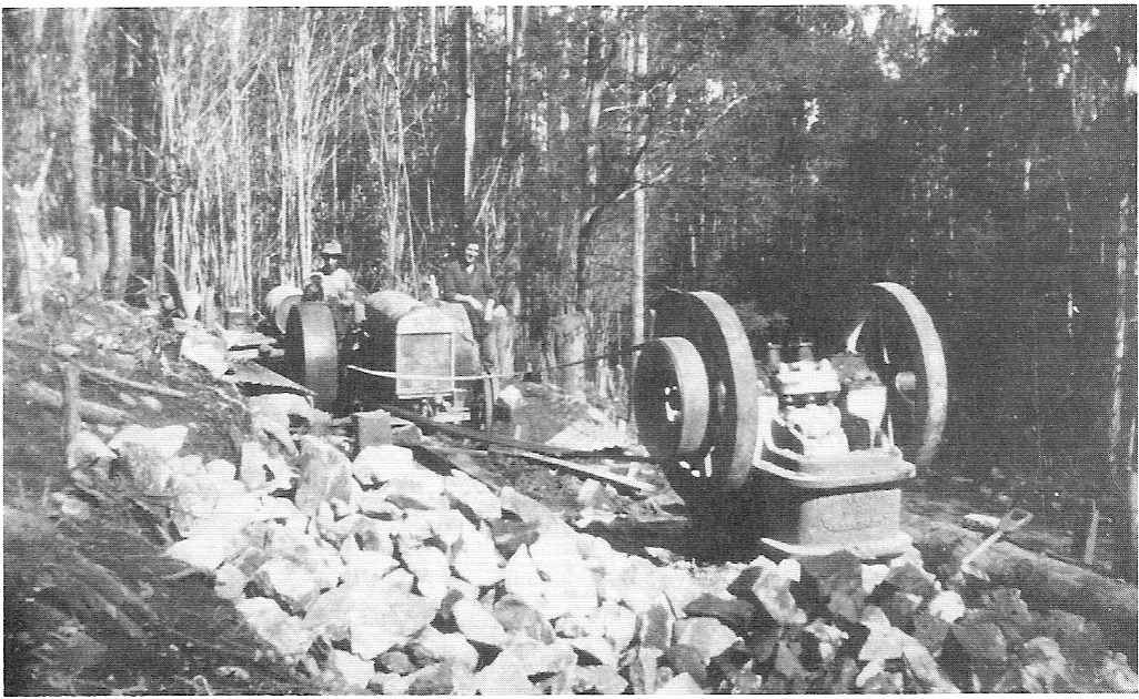 Rock crusher at 8 Mile on the Donna Buang Road circa 1933. The over-used road was rebuilt as an unemployment relief programme during the Great Depression. Later the worn out crusher jaws were salvaged by the University Ski Club and used as a backing for the fireplace of their new cabin.