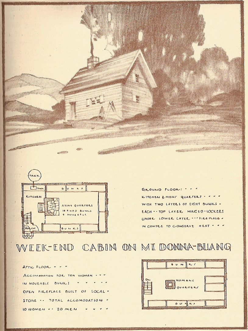 A plan of their new cabin on Mt. Donna Buang in the S.C.V.'s 1934 Year Book.
