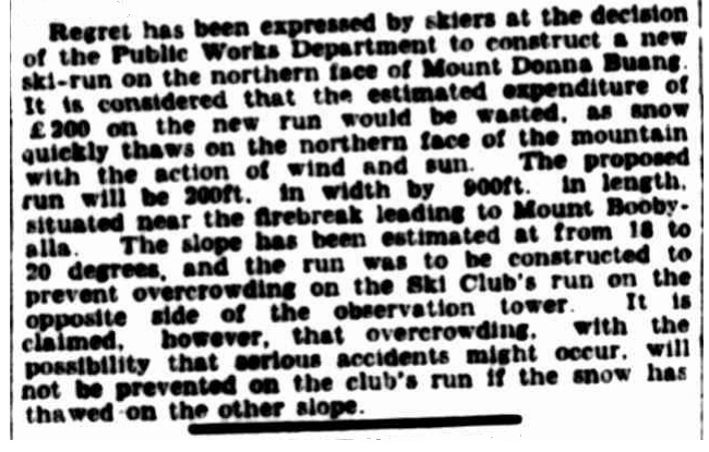 "THE SCV's campaign against the new ski run printed in The Argus. 4 April 1936. Note the SCV's provocative claims that they were ""the"" Ski Club and that the Main Run was their run, despite funds for it being contributed by government agencies and local businesses while labour to improve it also came from several other ski clubs."
