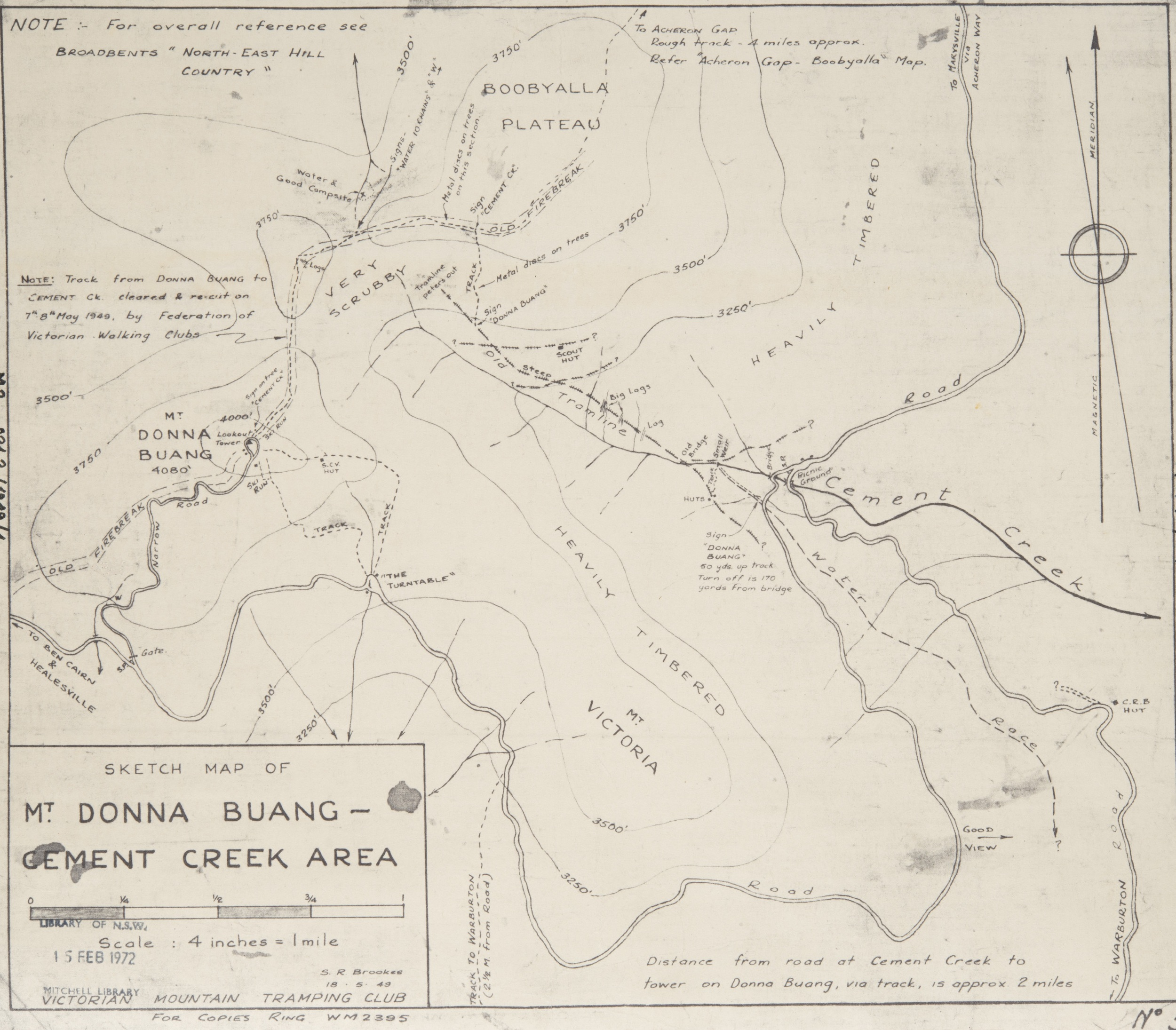 1949 map of Mt. Donna Buang. © Stuart Brookes, used with his permission. .